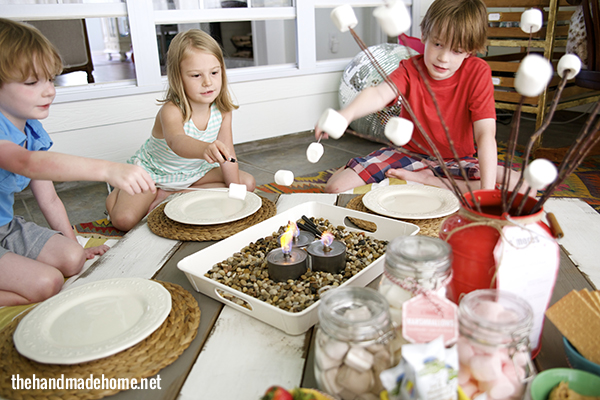 smores party indoor decorations, crafts