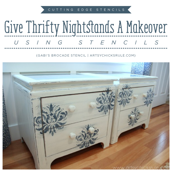 nightstand stencil vintage redo, painted furniture