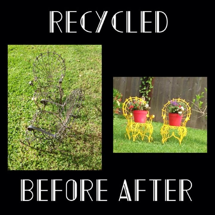 cast off wrought iron rocking chair planters before after, gardening, outdoor furniture, repurposing upcycling