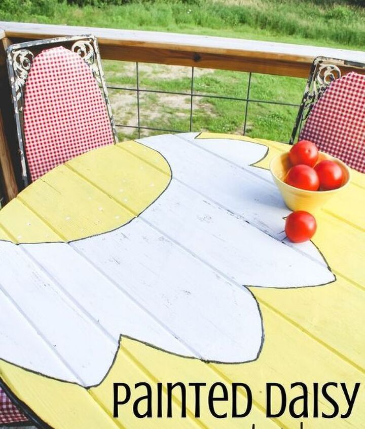 daisy table makeover patio, outdoor furniture, painted furniture
