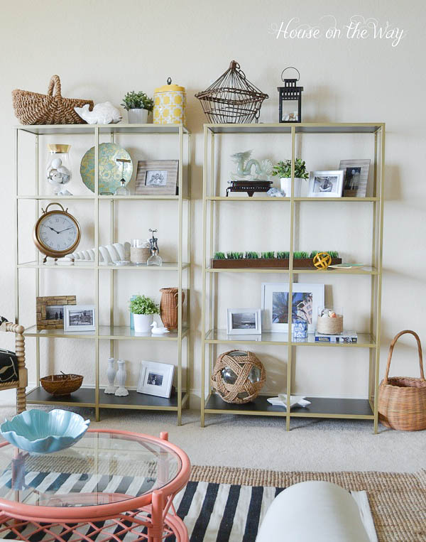 Coastal style decorated bookcase hometalk - Beach house furniture ideas ...