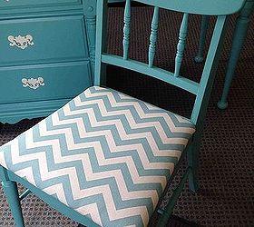 Desk Chair Chevron Painted Vintage, Painted Furniture