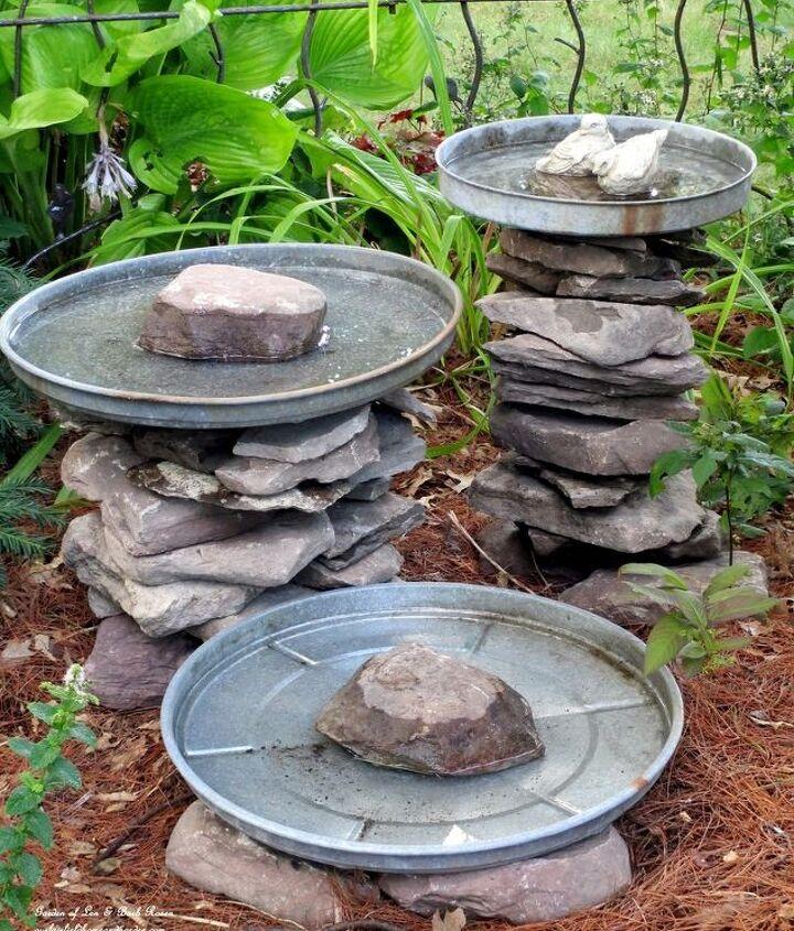 Stacked Stone Birdbaths