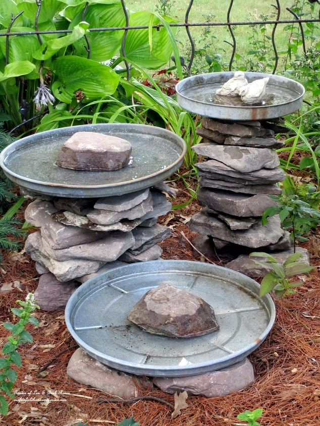 Stacked Stone Birdbaths