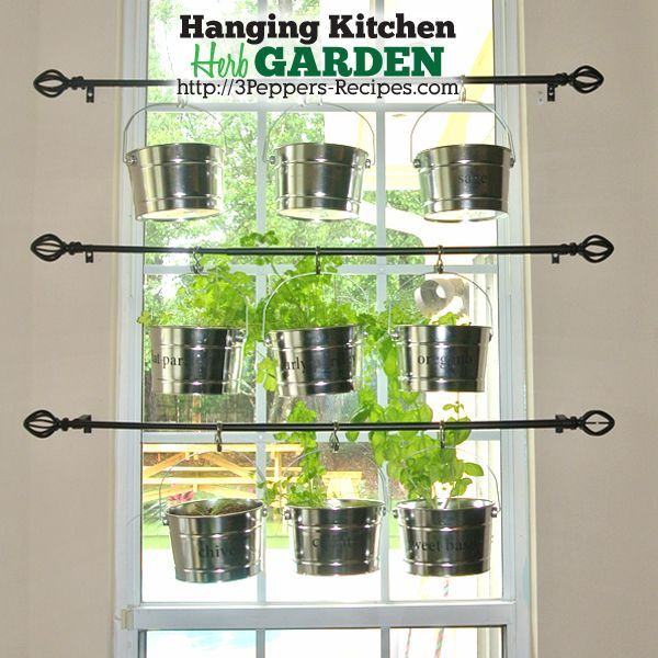 Herb Kitchen Hanging Garden Rods Container Gardening Design
