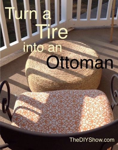 ottoman tire repurpose diy, outdoor furniture, painted furniture, repurposing upcycling