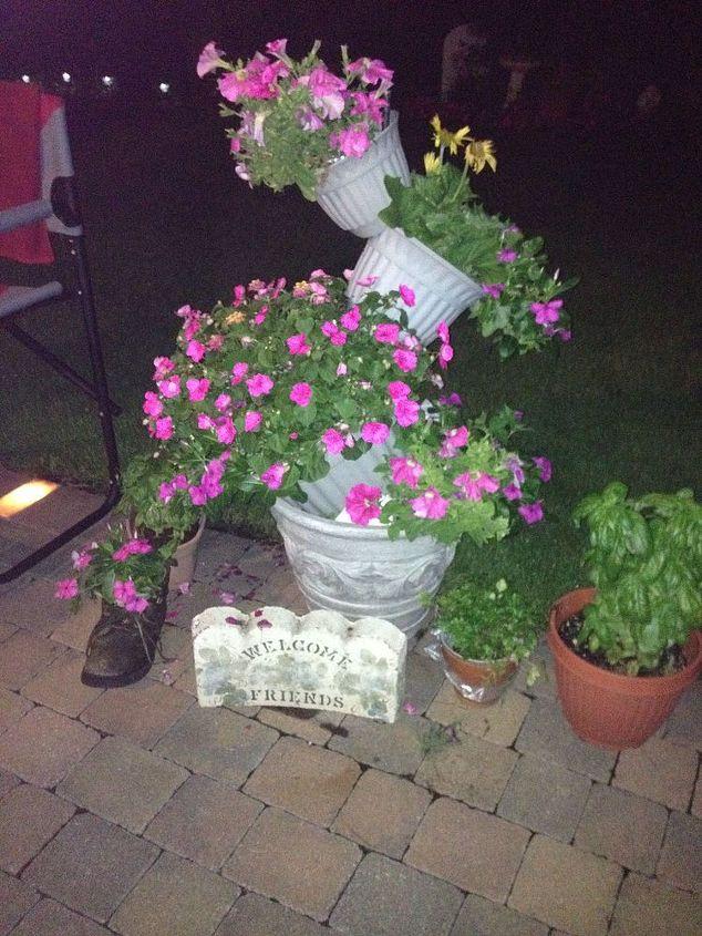 topsy turvy flower pot creation, container gardening, gardening, repurposing upcycling