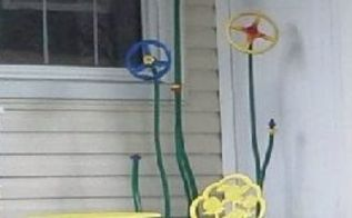 porch art industrial metal flowers, curb appeal, gardening, repurposing upcycling