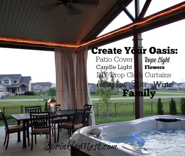 curtains outdoor drop cloth diy, decks, diy, outdoor living, reupholster, window treatments
