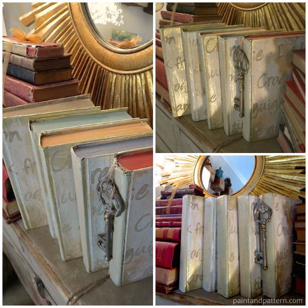 stenciled books gilded project diy, crafts