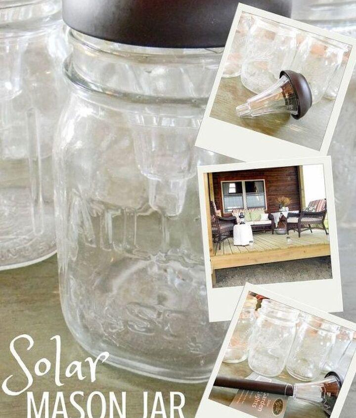 mason jar solar light diy, crafts, lighting, mason jars, outdoor living, repurposing upcycling