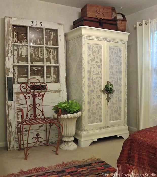 Stenciled Cabinet Shabby Chic Bedroom Ideas Home Decor Painted Furniture