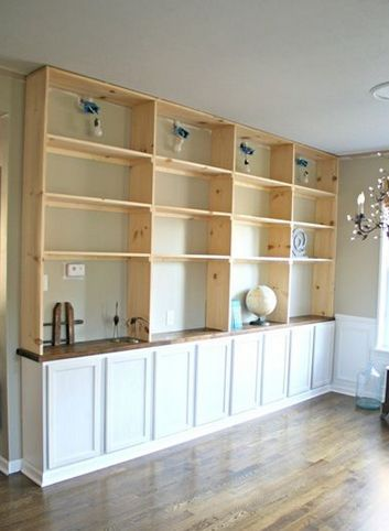 The best way to do built in shelves hometalk for Pre built cupboards