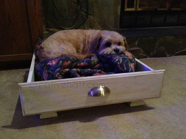 turn old kitchen drawer into dog bed hometalk