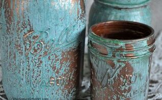 mason jar copper blue patina craft, crafts, mason jars, repurposing upcycling