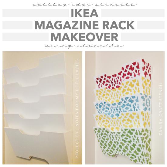 stencils magazine rack makeover, crafts, how to, shelving ideas