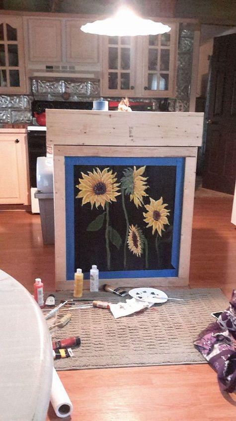 kitchen island paint art, kitchen design, kitchen island, painted furniture