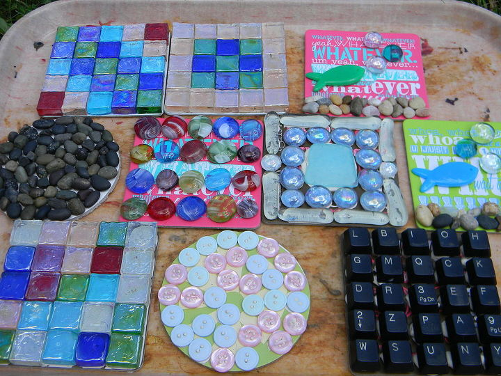 gardening ideas mosaics recycled materials, gardening, repurposing upcycling
