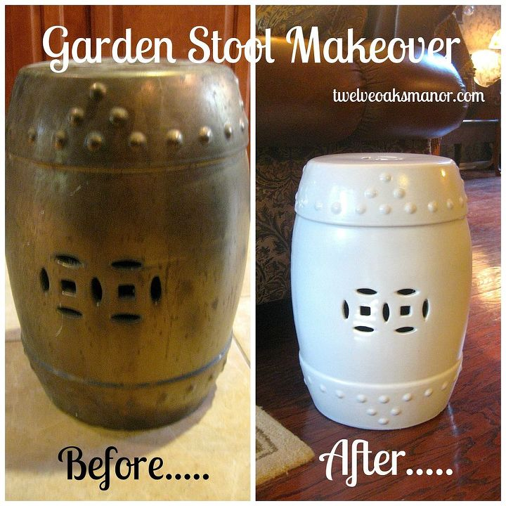 garden stool makeover upcycle, painted furniture, repurposing upcycling