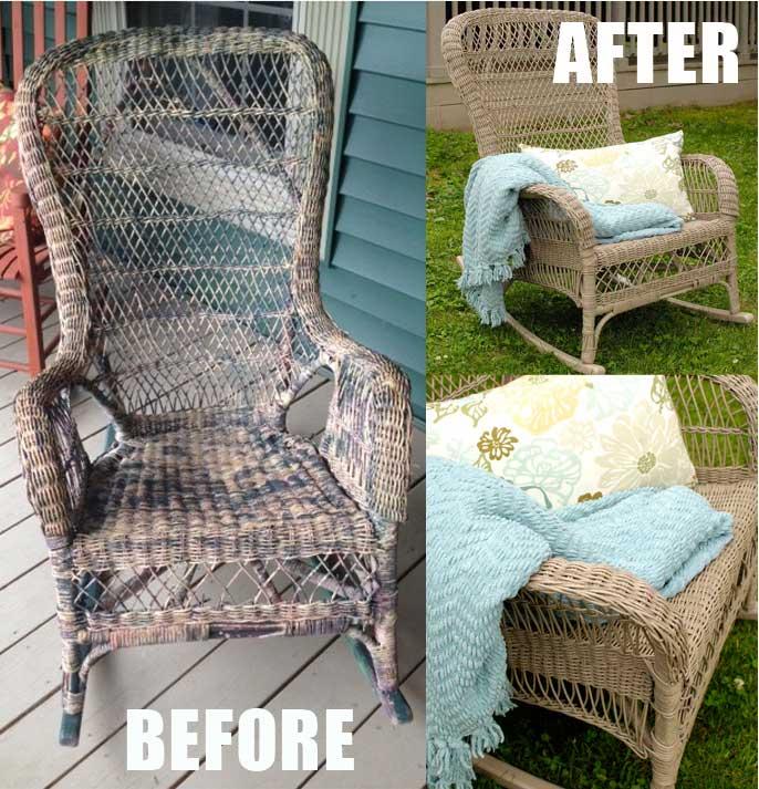wicker rocker makeover yard sale budget, painted furniture