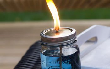 mason jar bug repellent candle, mason jars, outdoor living, repurposing upcycling