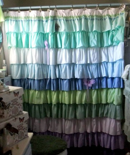 shower curtain anthropologie knockoff, bathroom ideas, diy, home decor, reupholster