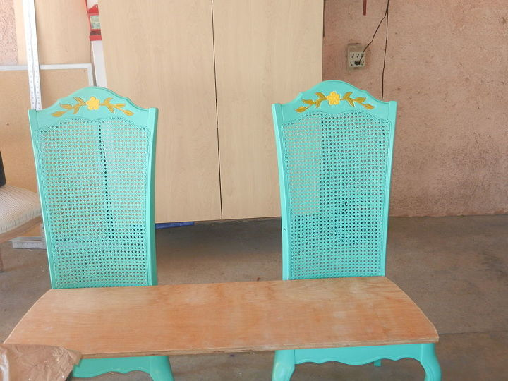 3 chair bench paid 7 00 yard sale, outdoor furniture, painted furniture