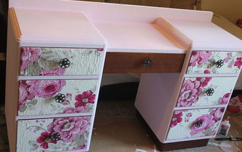 Vanity Make Over With  Mod Podge and Fabric and Paint