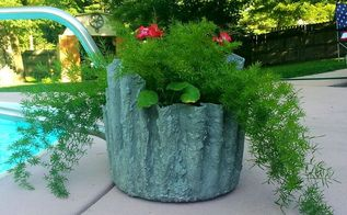 how to planters cement draped hypertufa, concrete masonry, container gardening, diy, gardening, My Largest is laundry basket size