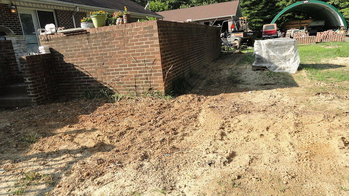landscape backyard project brick renovation, concrete masonry, flowers, gardening, landscape