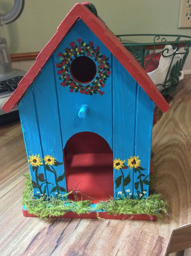 bird house painted for fairy garden hometalk