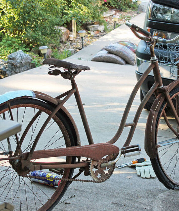 gardening art bicycle planter repurpose vintage, container gardening, flowers, gardening, repurposing upcycling