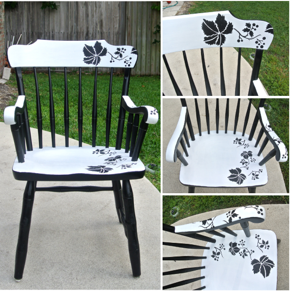 modern floral chair makeover with stencil hometalk