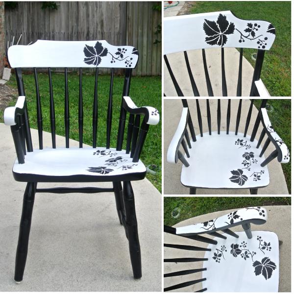 Modern Fl Chair Makeover With Stencil