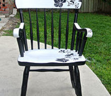 painted furniture chair stencil floral, painted furniture