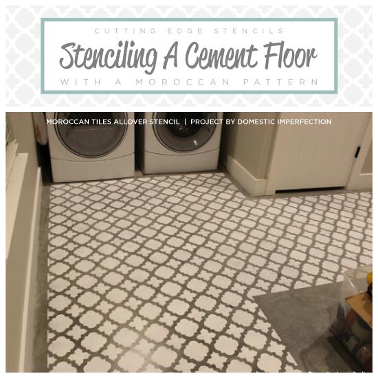 stenciling cement floor laundry room redo, concrete masonry, flooring, laundry rooms, painting