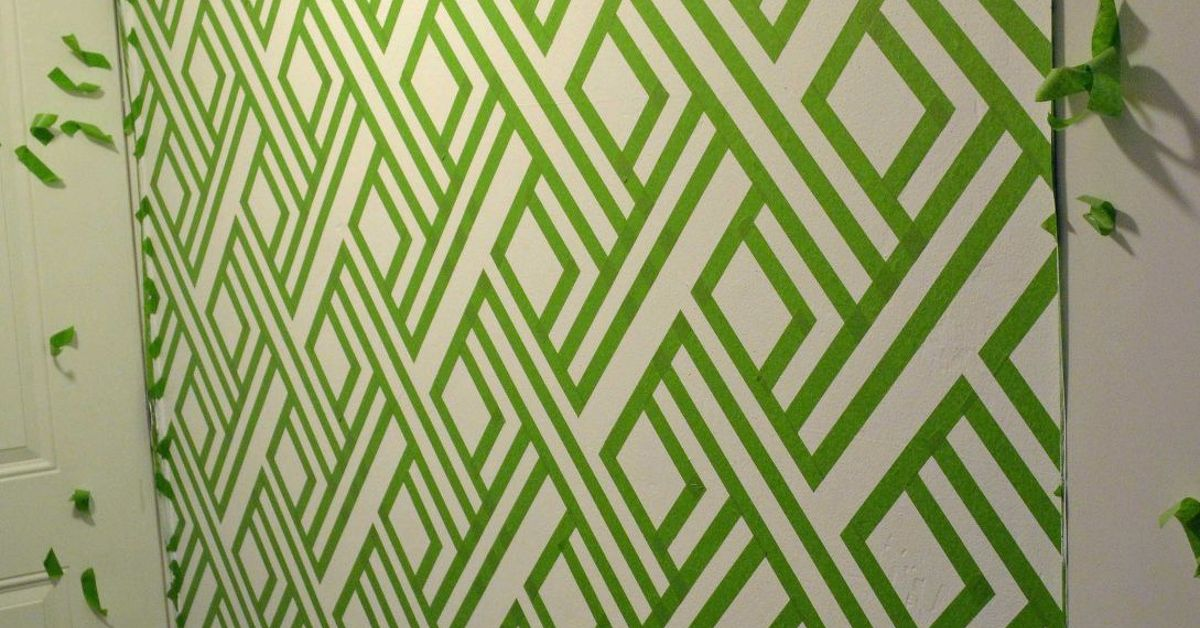diy modern wall design with painters tape hometalk - Paint Designs On Walls With Tape Ideas