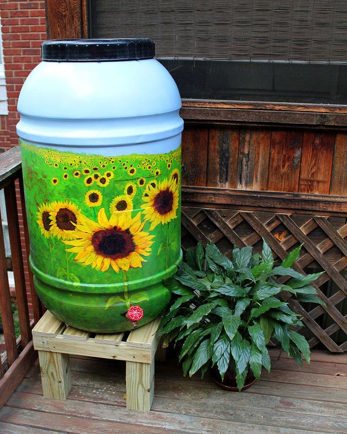 Sunflower Field Mural on a 55 gallon Rain Bar