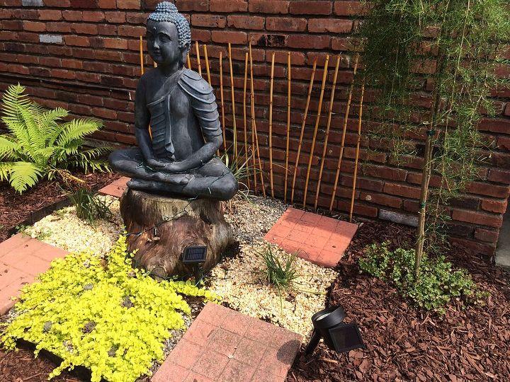 succulents garden buddha statue backyard, flowers, gardening, outdoor living