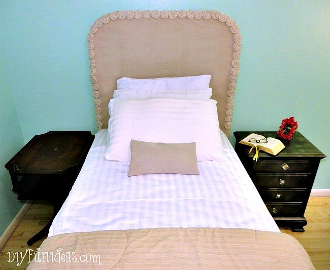 diy headboard slip cover rosette bunk bed redo, bedroom ideas, home decor, reupholster