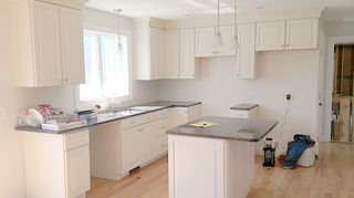 kitchen backsplash redo clean, home improvement, kitchen design, tiling, Kitchen before subway tile installed