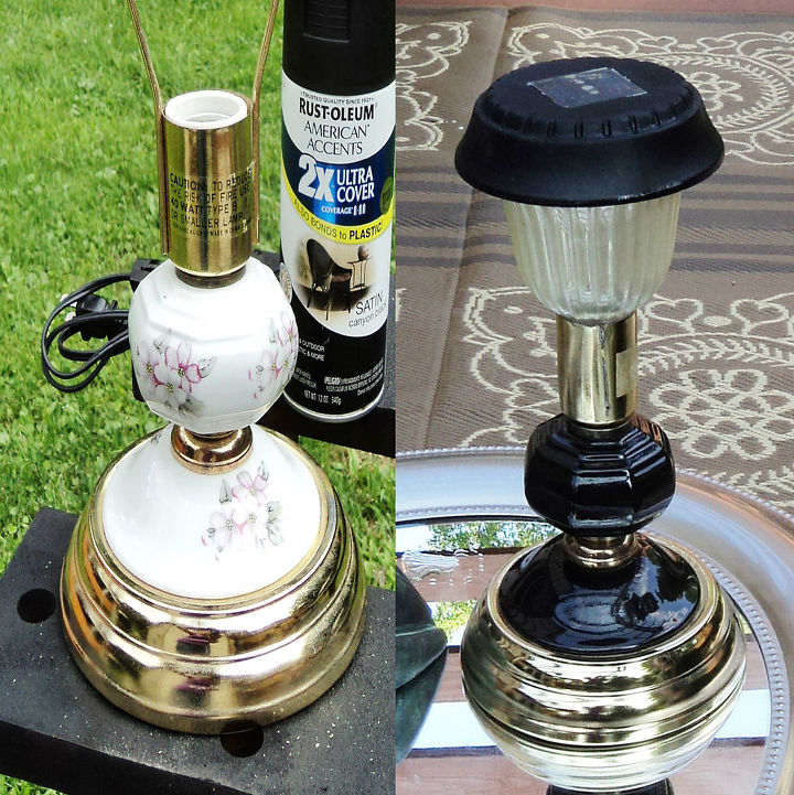 outdoor lighting solar lamp upcycle, lighting, outdoor living, repurposing upcycling