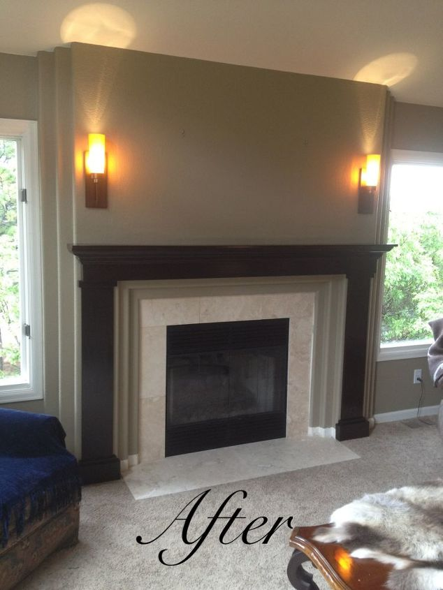 fireplace redo building mantel, diy, fireplaces mantels, home decor, seasonal holiday decor, tiling