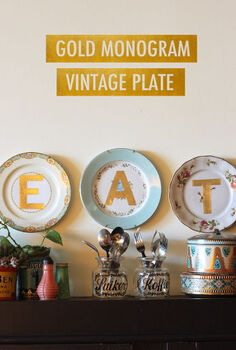 gold monogram vintage plates, crafts, home decor, kitchen design, wall decor