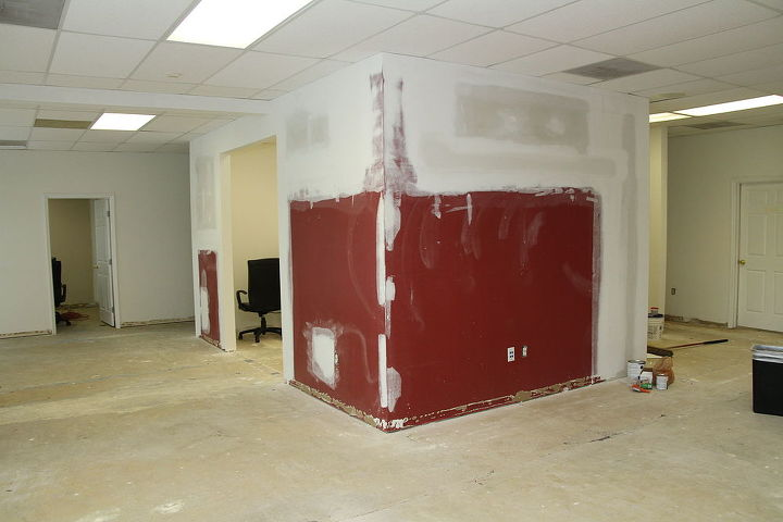Office Walls Sanded and Ready for Paint