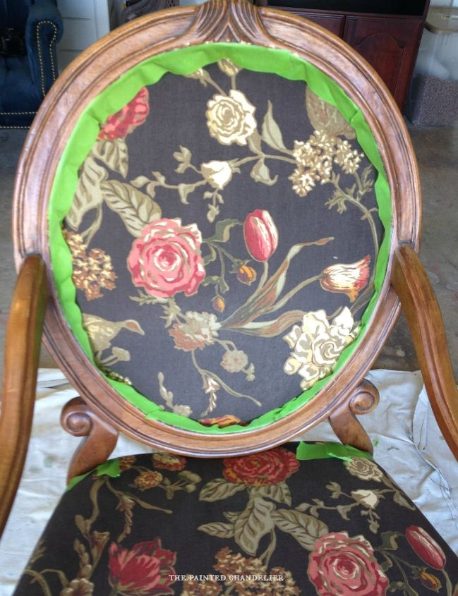 how to reupholster armchair vintage, painted furniture, reupholster