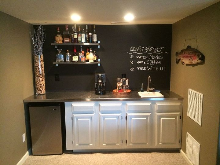 bar upgrade, chalkboard paint, entertainment rec rooms, kitchen cabinets