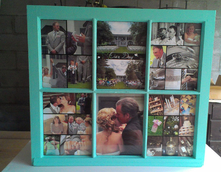 wedding gift window pane picture upcycle, crafts, repurposing upcycling