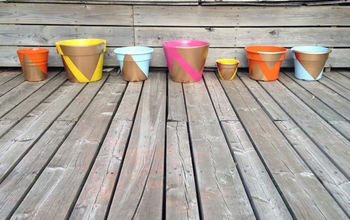 before after worn patio planters makeover, crafts, gardening, repurposing upcycling