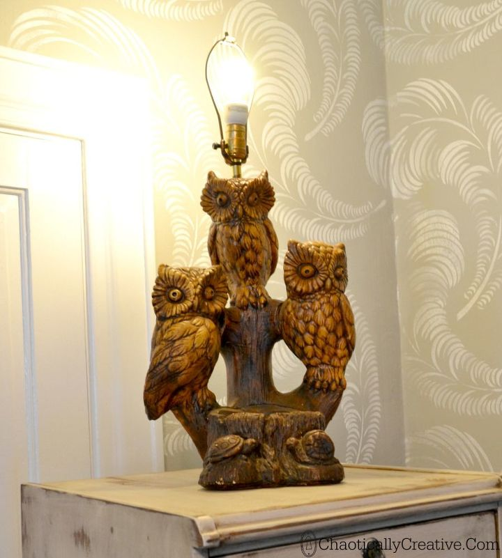 vintage lamp makeover, home decor, lighting, repurposing upcycling